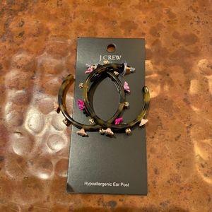 NWT J Crew Factory Gardenia Tortoise Hoop Earrings